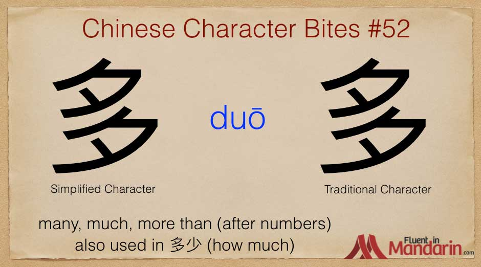 Chinese Character Bites 52 - 多