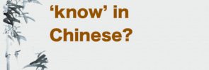 How do you say 'know' in Chinese?