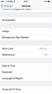iPhone settings general